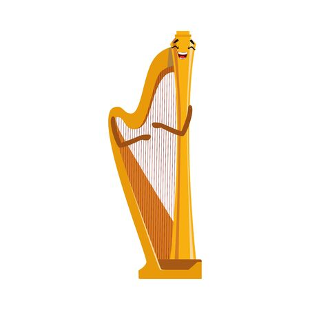 Funny Harp Musical Instrument Cartoon Character Vector Illustration on White Background.