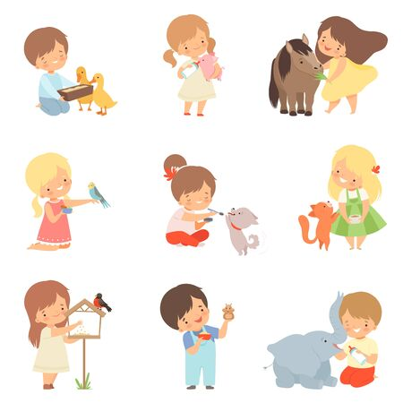 Cute Little Kids Feeding Animals Set, Adorable Boys and Girls Caring for Wild and Pets Cartoon Vector Illustration on White Background.