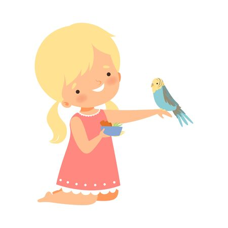 Cute Little Blonde Girl Feeding Her Budgerigar, Adorable Kid Caring for Animal Cartoon Vector Illustration on White Background.