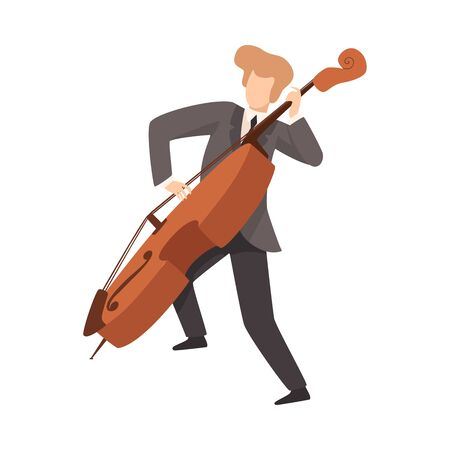 Man Playing Cello, Male Musician Contrabassist Character in Elegant Suit with Musical Instrument Vector Illustration on White Background.