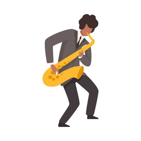 Male Jazz Musician in Elegant Suit Playing Saxophone Vector Illustration on White Background.