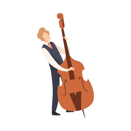 Man Playing Double Bass, Male Jazz Musician Character in Elegant Clothes with Musical Instrument Vector Illustration on White Background.