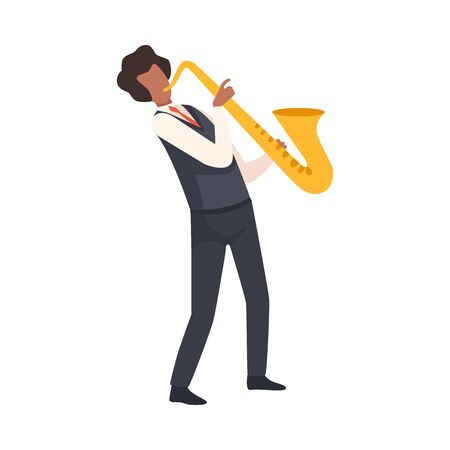 Man Playing Saxophone, Male Jazz Musician Character in Elegant Clothes with Musical Instrument Vector Illustration on White Background.