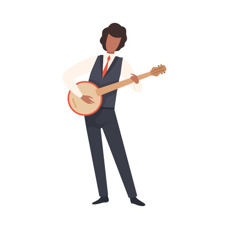 Man Playing Banjo, Male Jazz Musician Character in Elegant Suit with Musical Instrument Vector Illustration on White Background. Иллюстрация