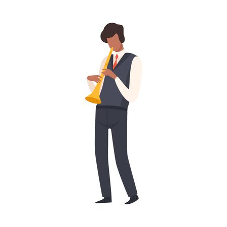 Man Playing Trumpet, Male Jazz Musician Character in Elegant Suit with Musical Instrument Vector Illustration on White Background.