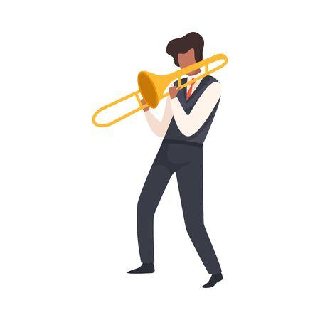Mann spielt Posaune, männlicher Jazzmusiker-Charakter in eleganter Kleidung mit Schlag-Musikinstrument-Vektor-Illustration auf weißem Hintergrund.