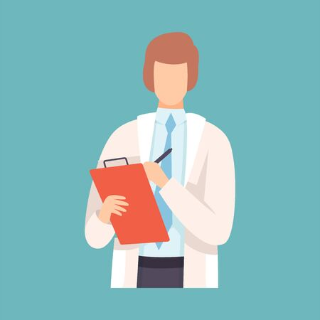 Male Doctor Takes Notes in Clipboard, Professional Medical Worker Character in White Lab Coat Vector Illustration, Flat Style. Illusztráció