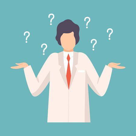 Male Doctor Having Many Questions, Professional Medical Worker Character in White Lab Coat Vector Illustration, Flat Style.