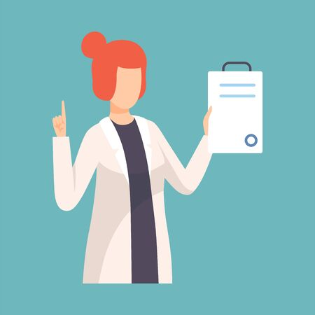 Female Doctor Raising Up Her Finger Giving Advice or Recommendation, Professional Medical Worker Character Holding Clipboard Vector Illustration, Flat Style.