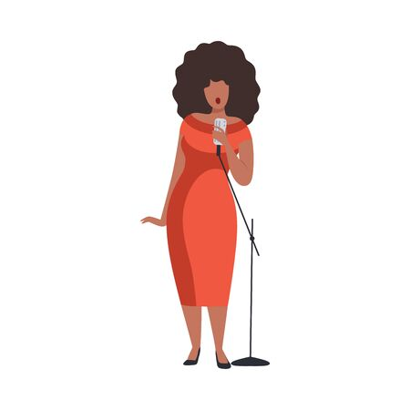 Young Woman in Red Evening Dress Singing with Microph Beautiful African American Jazz Singer Vector Illustration on White Background.