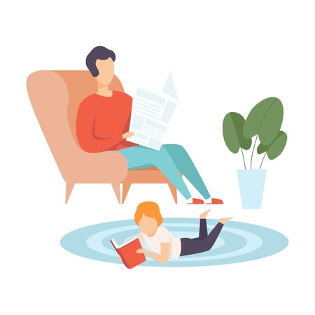 Father Sitting in Armchair and Reading Newspaper, His Little Son Lying on Floor on His Stomach and Reading Book, Family in Everyday Life at Home Vector Illustration on White Background. Illustration