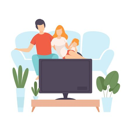 Mother, Father and Sin Sitting on Sofa and Watch Movie, Family in Everyday Life at Home Vector Illustration on White Background.