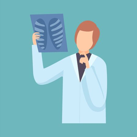 Male Doctor Examining Chest Radiograph, Professional Medical Worker Character in Lab Coat Vector Illustration, Flat Style.