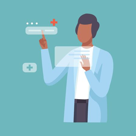 Male Doctor Working with Hand Touching Interface, Professional Medical Worker Character in Lab Coat, Future Virtual Technology, Healthcare Diagnostic Vector Illustration, Flat Style.
