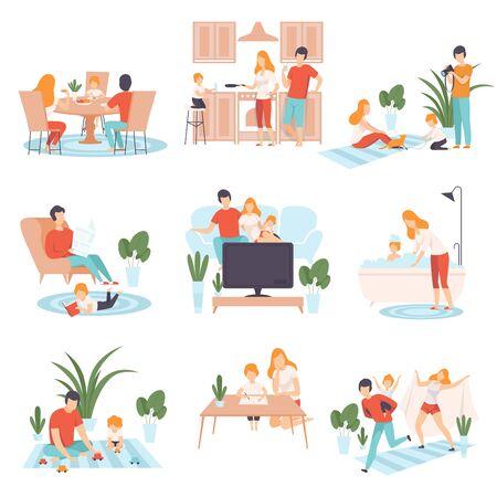 Genitori e il loro bambino nella vita quotidiana a casa insieme, cucinare in famiglia, mangiare, leggere libri, guardare la TV, giocare insieme illustrazione vettoriale su sfondo bianco. Vettoriali