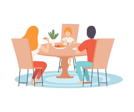Family Sitting at Kitchen Table and Eating Dinner Together, Parents and Their Son in Everyday Life at Home Vector Illustration on White Background. Ilustração
