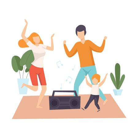Mother, Father and Son Dancing Together, Parents and Their Son in Everyday Life at Home Vector Illustration on White Background. Standard-Bild - 128165999