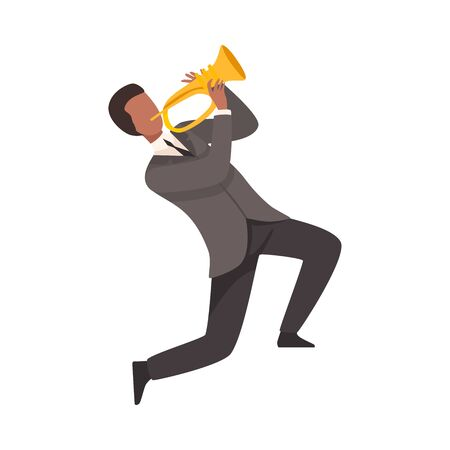 Man Playing French Horn, Male Jazz Musician Character in Elegant Suit with Musical Instrument Vector Illustration on White Background.