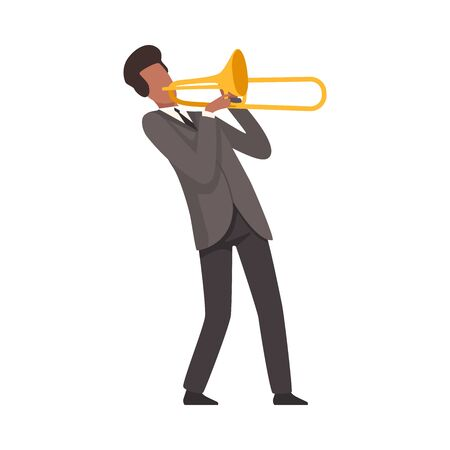 Young Man Playing Trombone Male Jazz Musician Character in Elegant Suit with Musical Instrument Vector Illustration on White Background.
