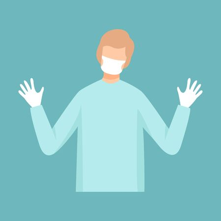 Male Surgeon Doctor, Professional Medical Worker Character in Mask, Gloves and White Lab Coat Vector Illustration, Flat Style.
