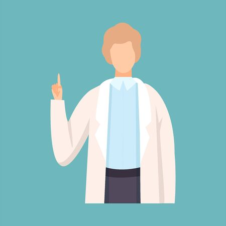 Male Doctor Raising Up His Finger Giving Advice or Recommendation, Professional Medical Worker Character in White Lab Coat Vector Illustration, Flat Style. Illusztráció