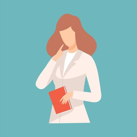 Female Doctor Raising Up Her Finger Giving Advice or Recommendation, Professional Medical Worker Character in White Lab Coat Vector Illustration, Flat Style.