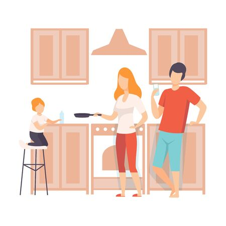 Family Cooking Food In The Kitchen Together, Parents and Their Son in Everyday Life at Home Vector Illustration on White Background.