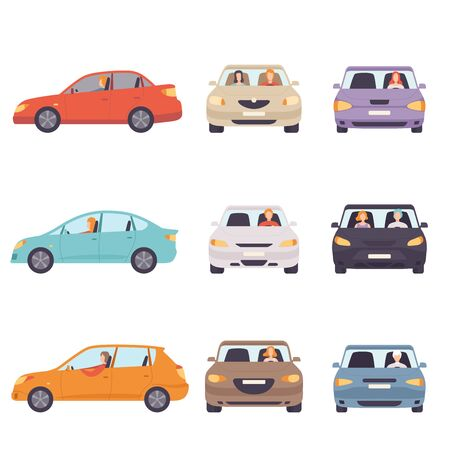 Cars with Drivers Set, Side and Front View Flat Vector Illustration