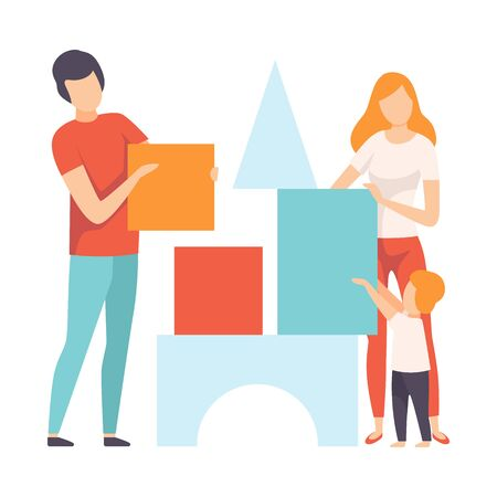 Mother, Father and Son Playing Toy Cubes, Family in Everyday Life at Home Vector Illustration on White Background.