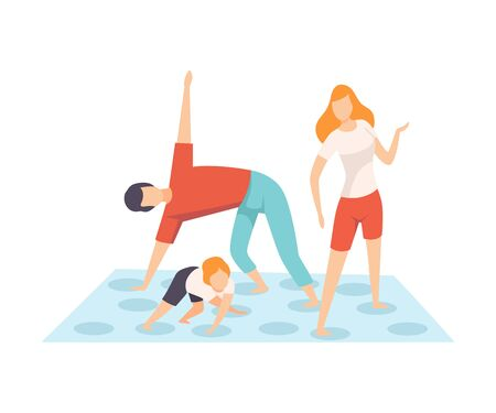 Mother, Father and Son Playing Twister Game, Parents and Their Son in Everyday Life at Home Vector Illustration on White Background.