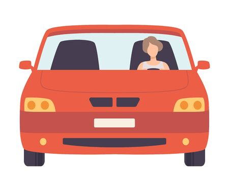 Red Car with Female Driver, Front View Vector Illustration