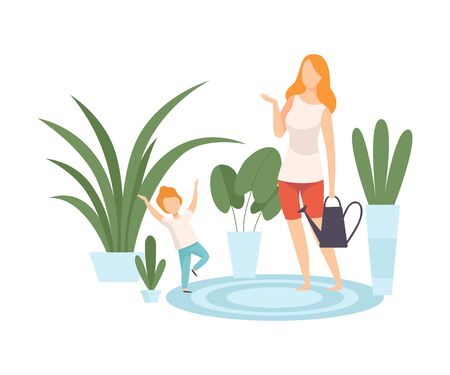 Mother and Her Son Watering Houseplants, Family in Everyday Life at Home Vector Illustration on White Background. Illustration