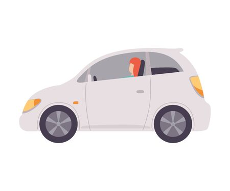 White Mini Car with Female Driver, Side View Vector Illustration