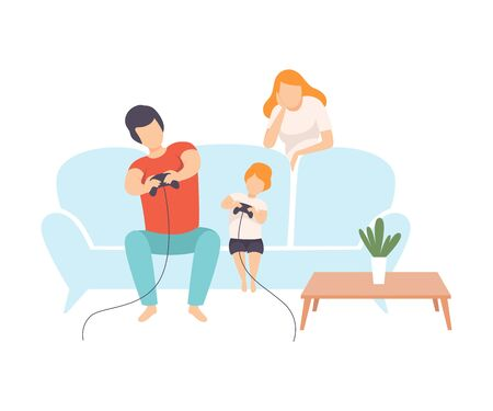 Father, Mother and Son Sitting on Sofa and Playing Video Games Together, Family Everyday Life at Home Vector Illustration on White Background.