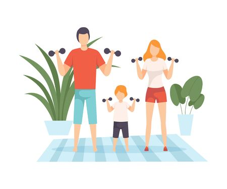 Mother, Father and Son Exercising with Dumbbells in Living Room, Family in Everyday Life at Home Vector Illustration on White Background. Illustration