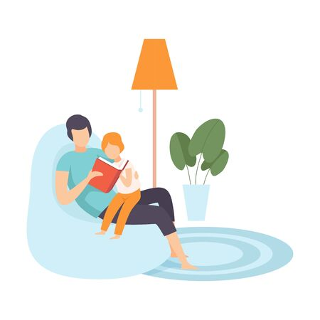 Dad Reading for Little Son, Family in Everyday Life at Home Vector Illustration on White Background.