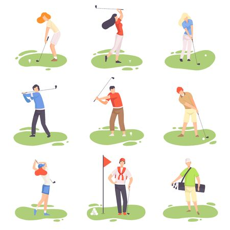 People Playing Golf Set, Male and Female Golfer Players Training with Golf Clubs on Course with Green Grass, Outdoor Sport or Hobby Vector Illustration on White Background.