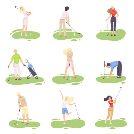 People Playing Golf Set, amdn and Woman Golfer Players Training with Golf Clubs on Course, Outdoor Sport or Hobby Vector Illustration on White Background. Illustration