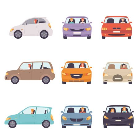 Cars with Drivers Set, Side and Front View Vector Illustration Illustration