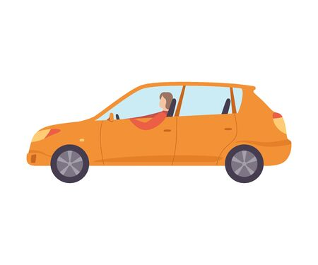 Orange Car with Male Driver, Side View Vector Illustration