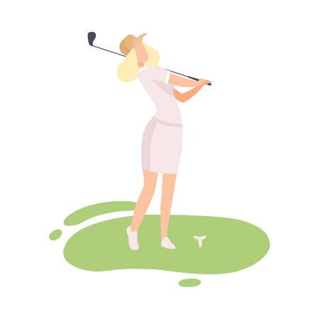 Young Blonde Woman Playing Golf, Female Golfer Training with Golf Club on Course with Green Grass, Outdoor Sport or Hobby Vector Illustration on White Background. Stock Illustratie