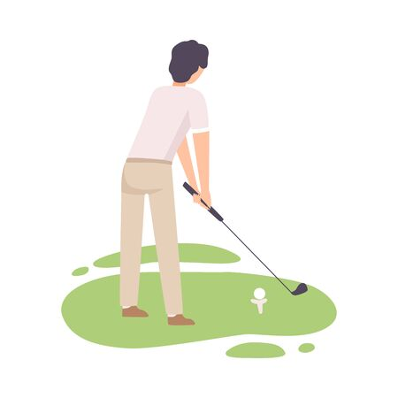 Man Playing Golf, Male Golfer Training with Golf Club on Course with Green Grass, View from Behind, Outdoor Sport or Hobby Vector Illustration on White Background.