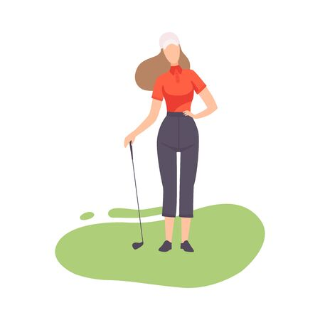 Young Woman Standing with Golf Club, Girl Golfer Player Playing on Course with Green Grass, Outdoor Sport or Hobby Vector Illustration on White Background.
