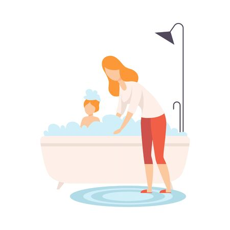 Mother Bathing her Son in Bathtub with Full of Foam, Parent and Her Son in Everyday Life at Home Vector Illustration on White Background.