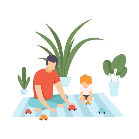 Father with His Son Playing with Toy Car, Family in Everyday Life at Home Vector Illustration on White Background. Illustration