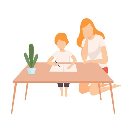 Mother Helping Her Son with Homework, Parent and Her Son in Everyday Life at Home Vector Illustration on White Background.