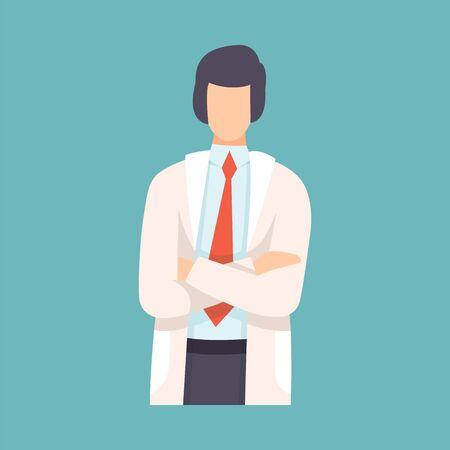 Male Doctor Standing with Folded Hands, Professional Medical Worker Character in White Lab Coat Vector Illustration, Flat Style. Illusztráció