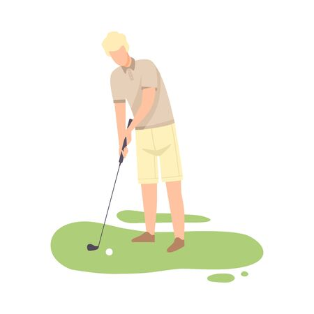 Man Playing Golf, Male Golfer Training with Golf Club on Course with Green Grass, Outdoor Sport or Hobby Vector Illustration on White Background.