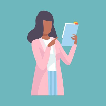 Female Doctor Holding Clipboard and Giving Advice or Recommendation, Professional Medical Worker Character Holding Clipboard Vector Illustration, Flat Style.