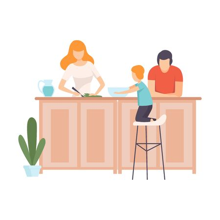 Mother, Father and Son Cooking Food In The Kitchen Together, Family in Everyday Life at Home Vector Illustration on White Background.